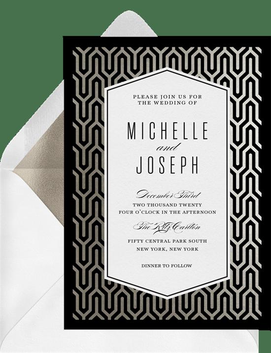 Elegant Art Deco Invitations in Silver Greenvelopecom