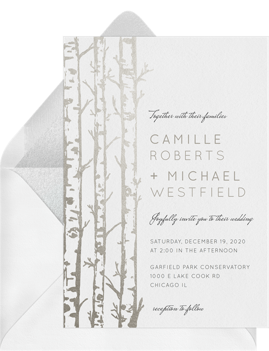 chicago invitations elegant birch trees invitations in white greenvelopecom
