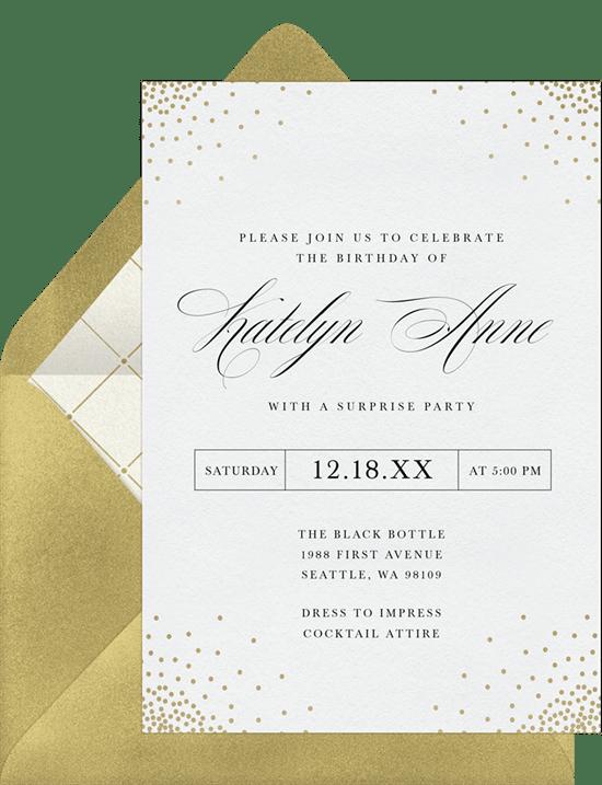 elegant confetti invitations in white greenvelope com