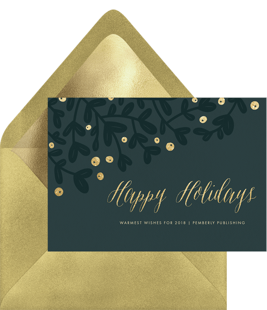 'Elegant Mistletoe' Business Holiday Greetings Card in Blue
