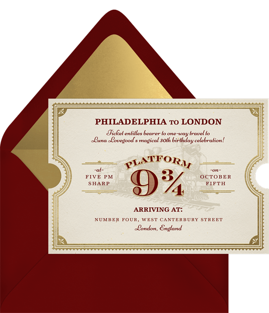 Enchanted Train Ticket Invitations Greenvelopecom