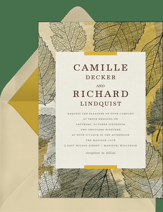 essence of autumn invitations in yellow greenvelope com