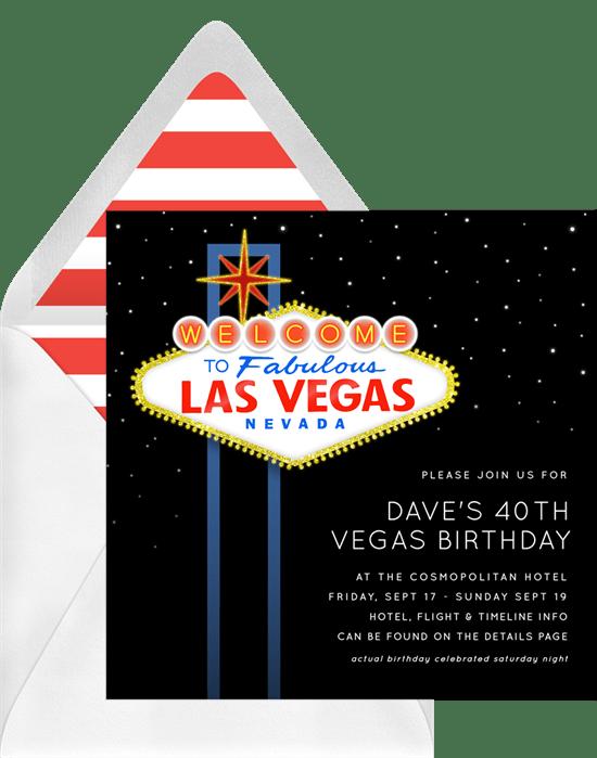 Fabulous Las Vegas Invitations Greenvelope