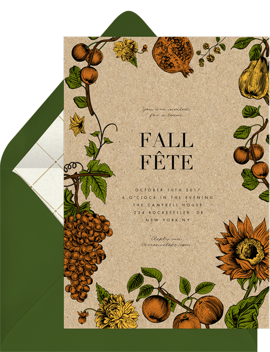 fall fête invitations in yellow greenvelope com