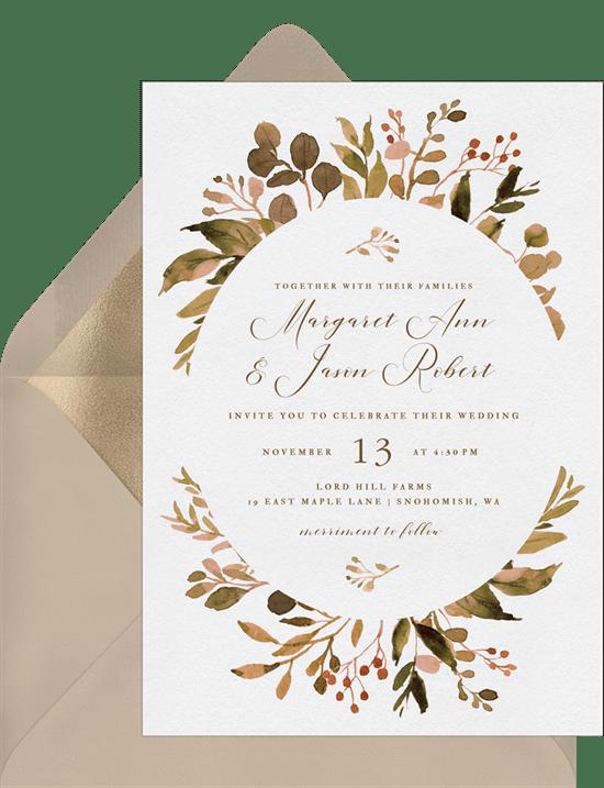 fall wreath invitations greenvelope com