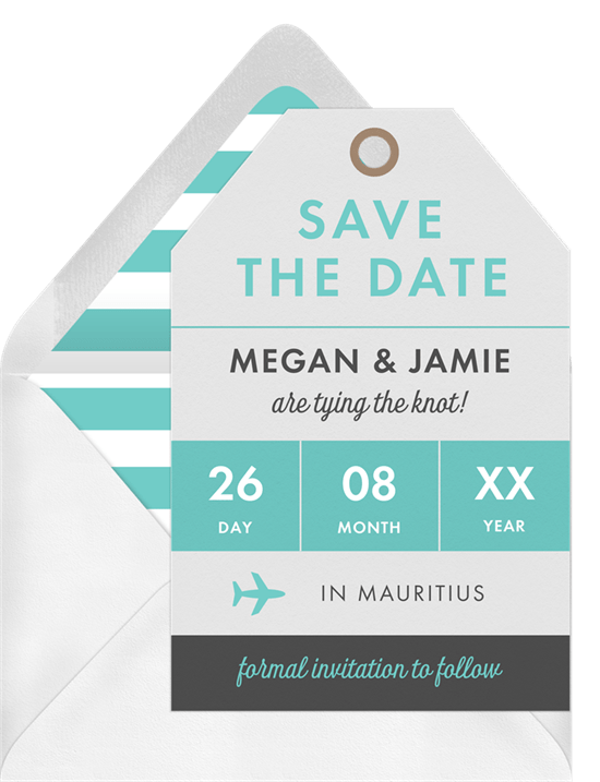 'First Class' Wedding Save The Date in Blue