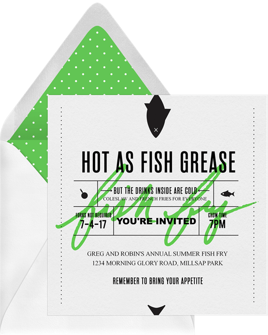 Fish Fry Invitations In Green Greenvelope Com
