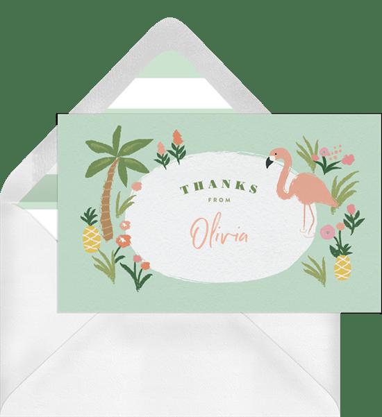 Flamingo Luau Thank You Notes Greenvelope Com