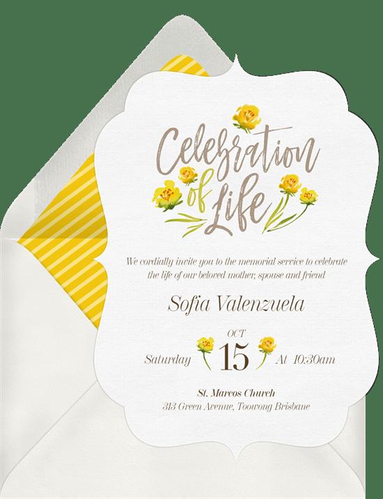 floral celebration invitations in yellow greenvelope com