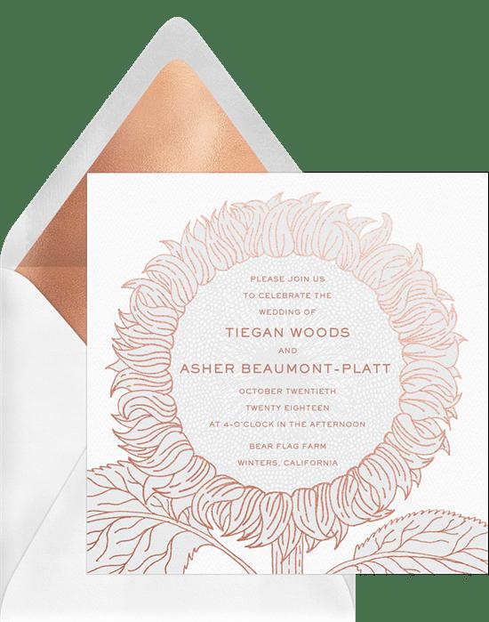 foil stamped sunflower invitations in white greenvelope com