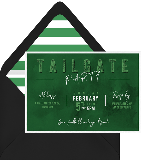 Football Party Invitations In Green