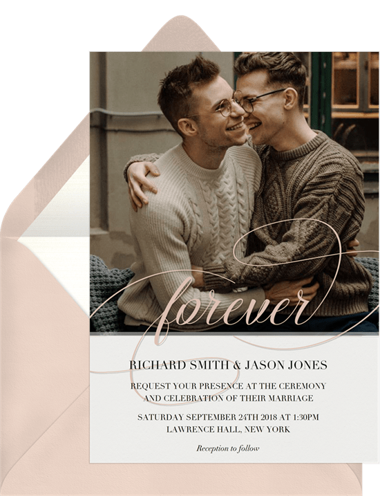 Forever Script Invitation in Creme