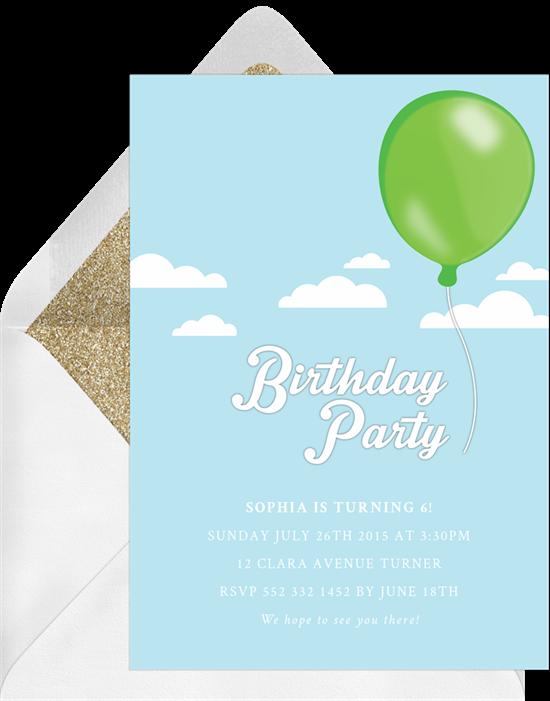 free balloon invitations in green greenvelope com