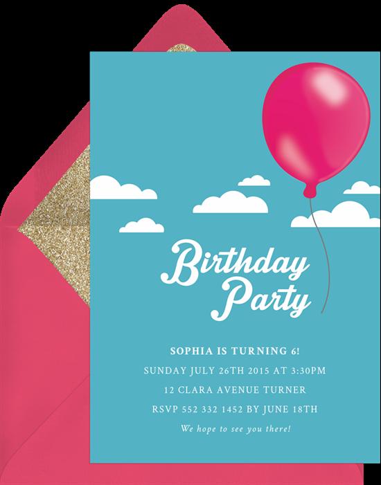 free balloon invitations in pink greenvelope com