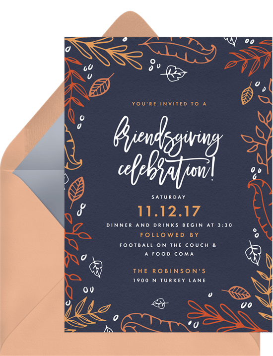 friendsgiving celebration invitations in blue greenvelope com