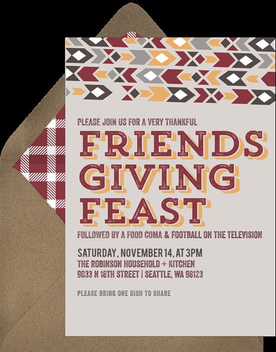 Friendsgiving Feast Invitations in Red Greenvelopecom