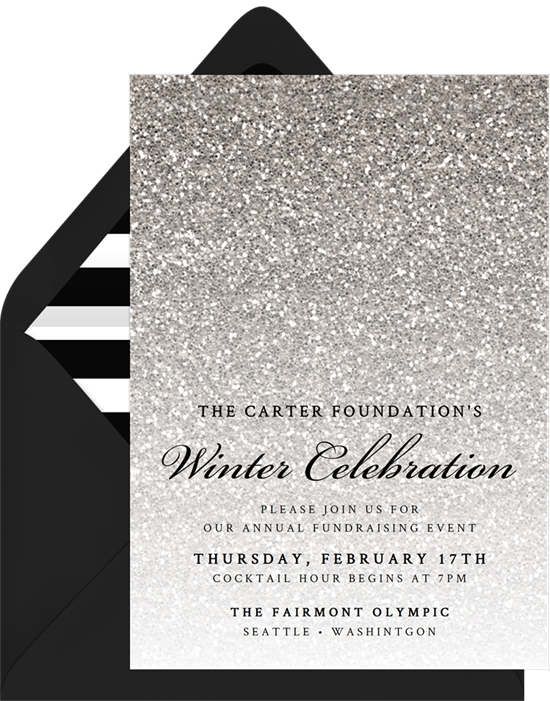 frosted glitter invitations in silver greenvelope com