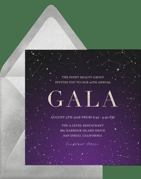 galaxy gala invitations in purple greenvelope com