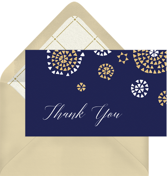 geometric bursts thank you notes in blue greenvelope com
