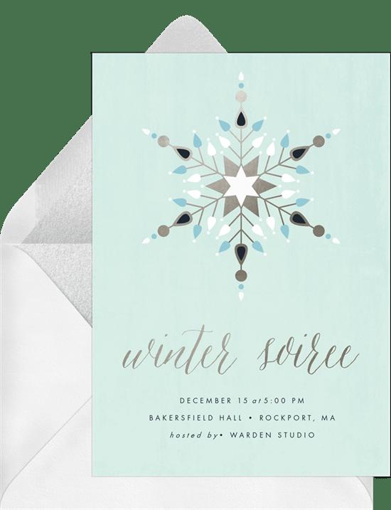 geometric snowflake invitations in blue greenvelope com