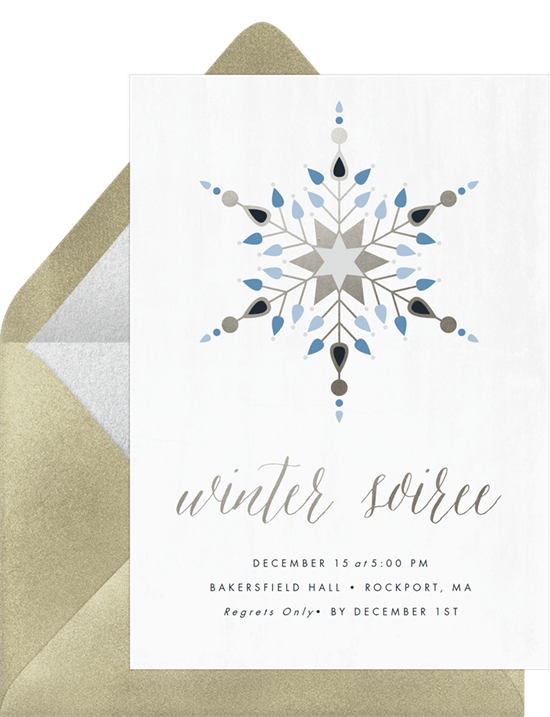 geometric snowflake invitations in white greenvelope com