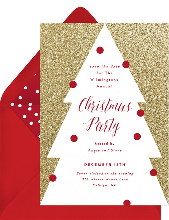 Christmas Party Save The Date Cards.Glitter On Point Save The Dates In White Greenvelope Com
