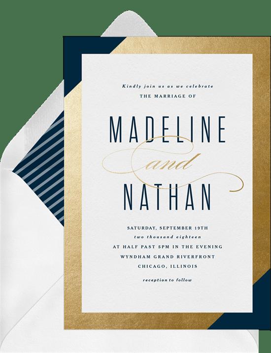 gold foil frame invitations greenvelope com