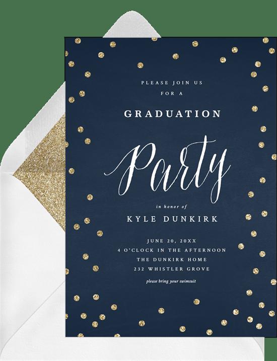 Gold Glitter Confetti Invitations Greenvelope Com