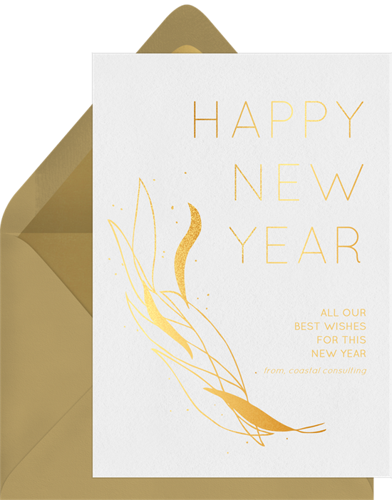Gold Leaf New Year Cards in White | Greenvelope.com