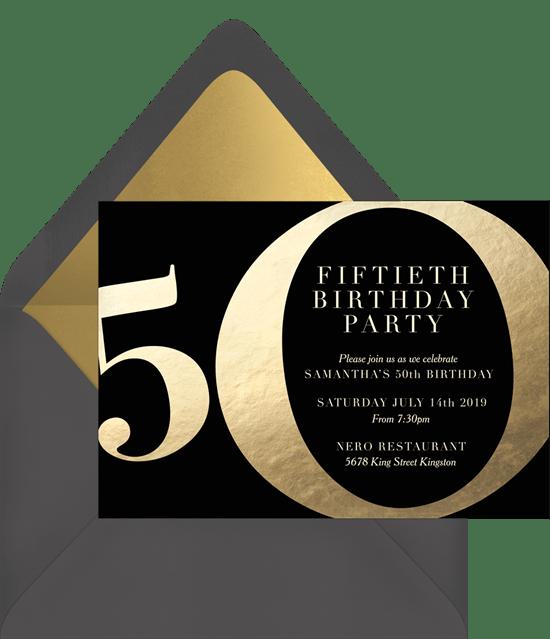 Golden 50 Invitations In Black Greenvelope Com