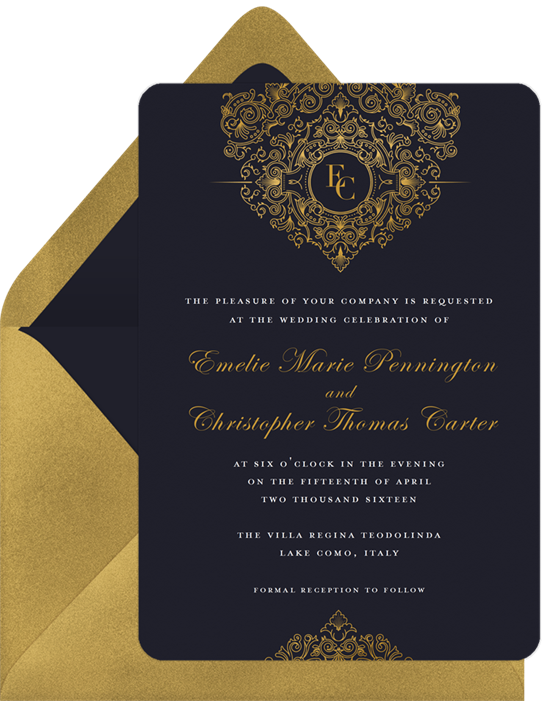 Golden chandelier invitations in black greenvelope golden chandelier invitation in black mozeypictures Image collections