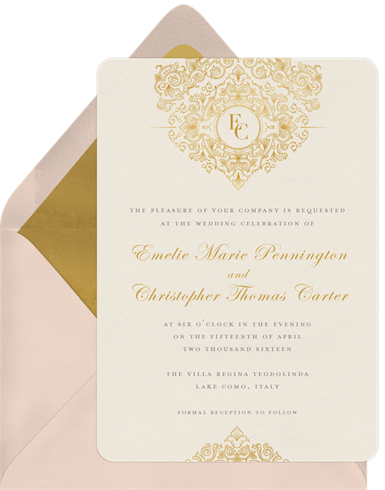 Golden chandelier invitations in gold greenvelope golden chandelier invitation in gold mozeypictures Image collections