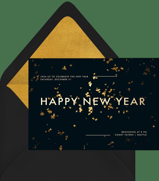 Golden New Year Invitations Greenvelope Com