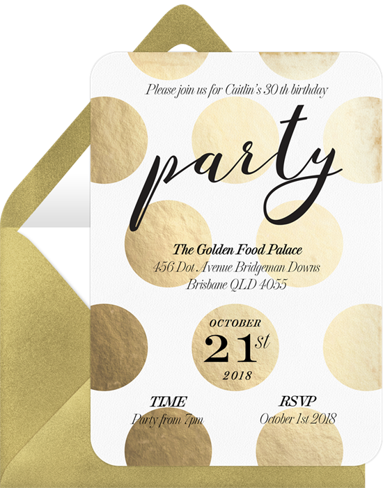 golden polka dots invitations greenvelope com