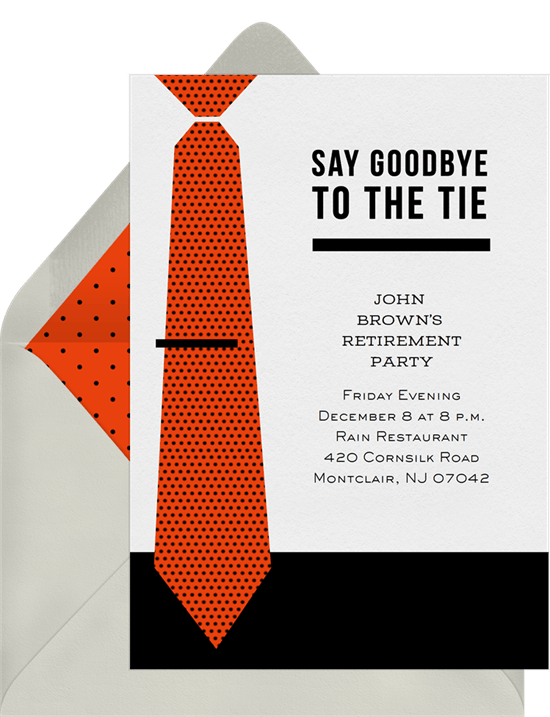 goodbye to the tie invitations in red greenvelope com