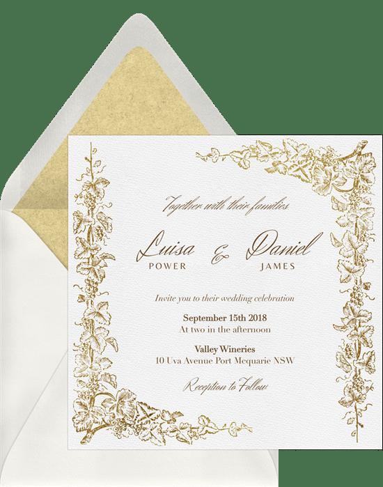 Grapevine Border Invitations In Yellow Greenvelope Com