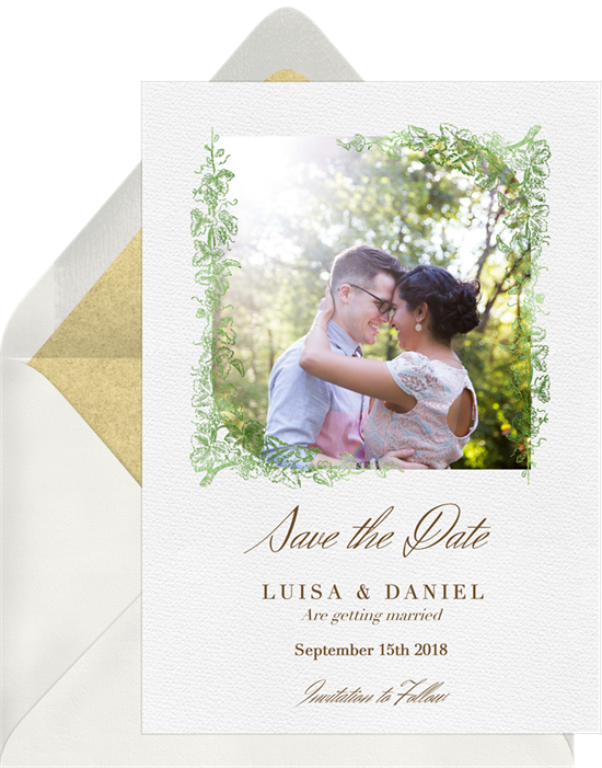 Grapevine Border Save The Dates In Green