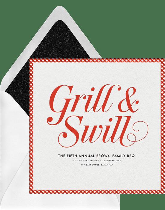 grill swill invitations in red greenvelope com