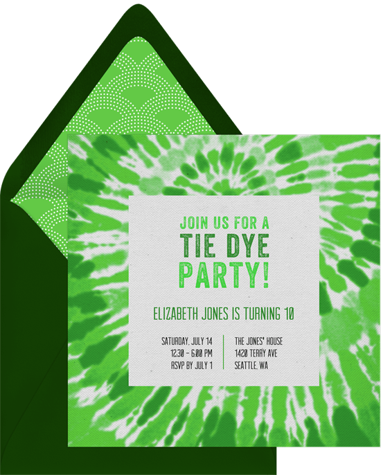 groovy tie dye invitations in green greenvelope com