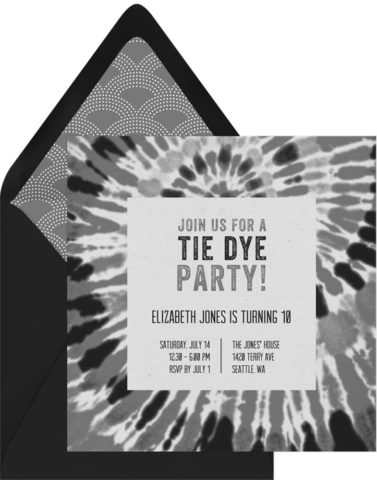 groovy tie dye invitations in grey greenvelope com