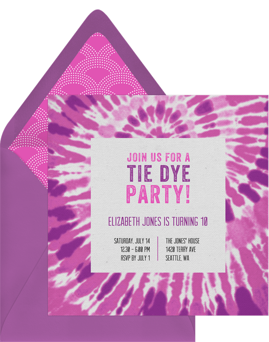 groovy tie dye invitations in purple greenvelope com