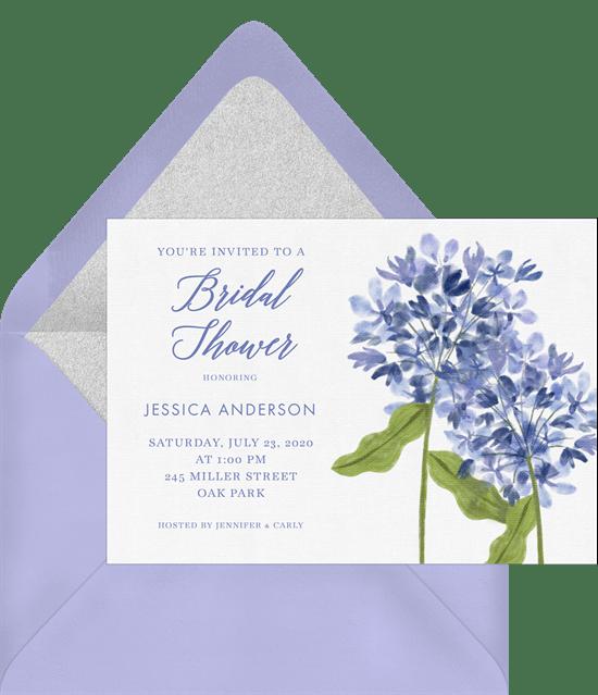 hand painted hydrangeas invitations in blue greenvelope com