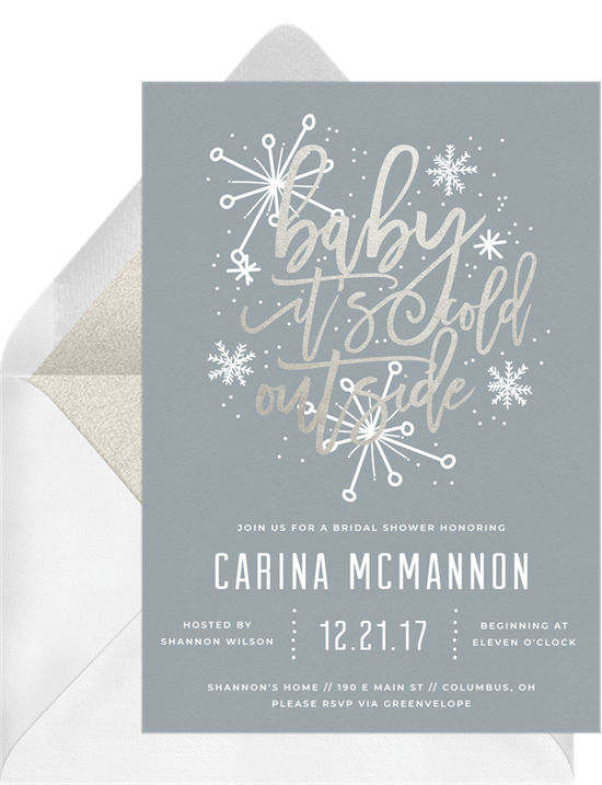 handlettered snowflake invitations greenvelope com