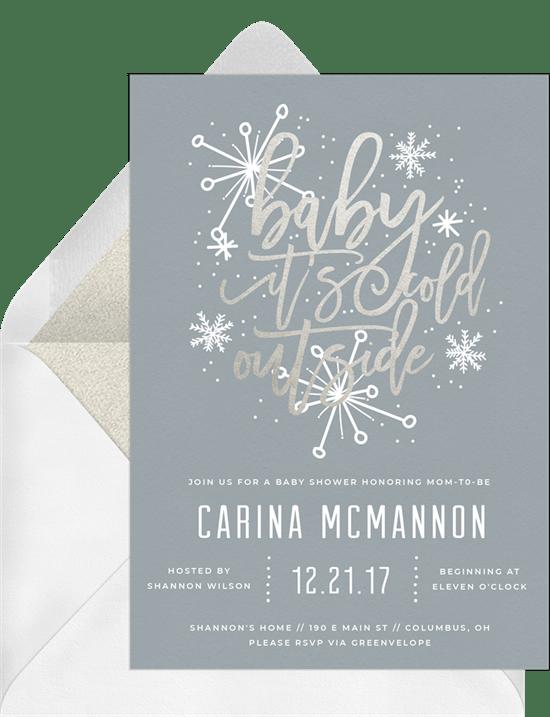 handlettered snowflake invitations in silver greenvelope com