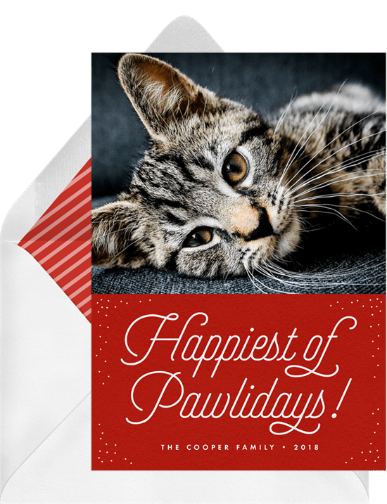 'Happiest of Pawlidays' Holiday Greetings Card in Red