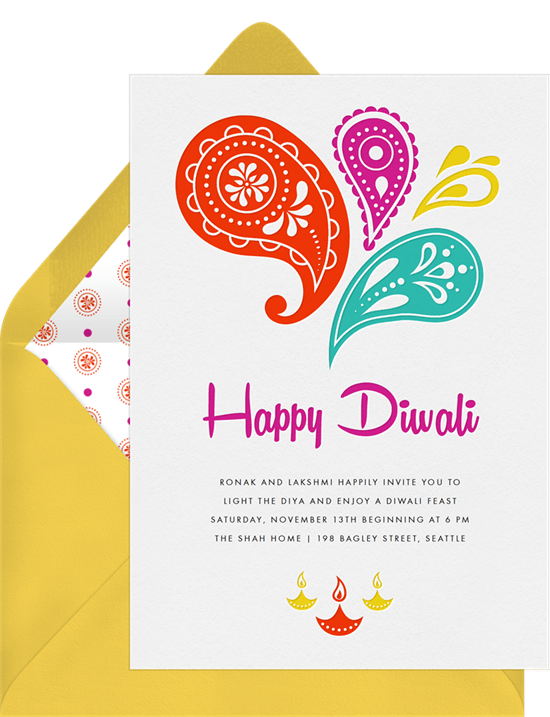 Happy Diwali Invitations in Red – Diwali Party Invitations