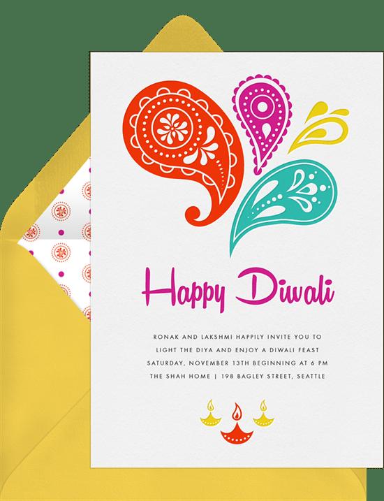 Happy diwali invitations in red greenvelope happy diwali invitation in red stopboris Choice Image