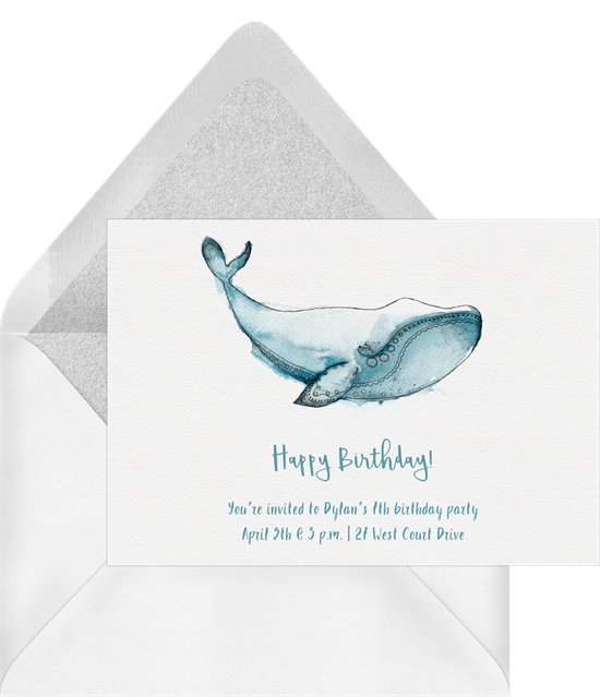 Happy Whale Invitations in Blue Greenvelopecom
