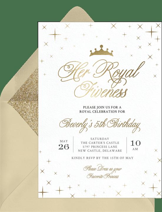 Her Royal Fiveness Invitations Greenvelope Com