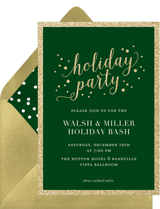 holiday sparkle invitations in green greenvelope com